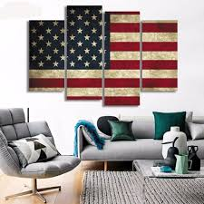 American Flag Living Room by 4 Panel Framed American Flag Canvas Wall Art Products Canvas