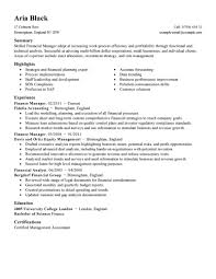Resume For Spa Manager Best Finance Manager Resume Example Livecareer