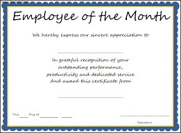 interesting certificate template example for employee the month thogati