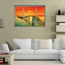 home decor 3d vinyl ocean sunset wall sticker orange red cm in