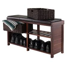 amazon com winsome wood colin cushion bench with baskets kitchen