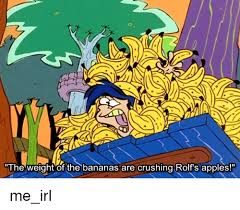 rolf s the weight of the bananas are crushing rolf s apples me irl apple