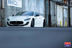 stanced maserati liberty walk maserati granturismo in white gets custom stance and