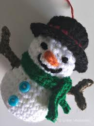 5 monsters crocheted snowman ornament