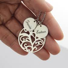 name charm necklace grandmother jewelry family tree necklace with custom name charm