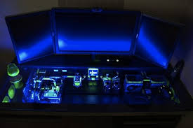 Glass Topped Computer Desk Glowing Floating Desk With Custom Computer Seen Through Glass Top