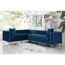 Corner Sectional Sofa 120 Dante Velvet Corner Sectional Sofa Button Tufted Nail
