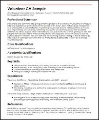 resume skills and qualifications exles for a resume volunteer cv sle myperfectcv