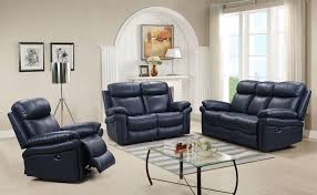 Blue Leather Chair Shae Joplin Blue Leather Power Reclining Living Room Set From Luxe