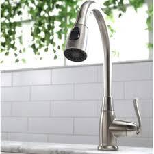 premium kitchen faucets satin nickel kitchen faucets you ll wayfair