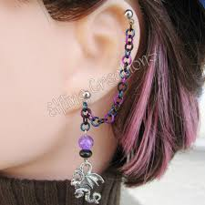 earring with chain to cartilage black blue and purple cartilage chain earring flickr