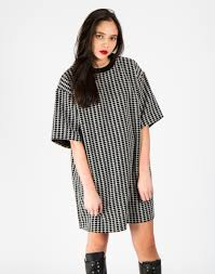 are cow black and white woven cross oversized t shirt dress