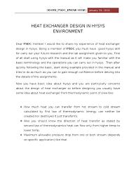 heat exchanger design problems in hysis heat temperature