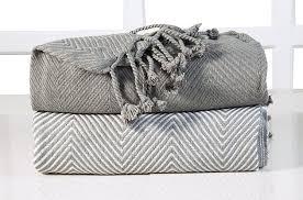 plaid gris pour canapé ehc luxe chevron coton unique plaid gris 125 x 150 cm lot de 2