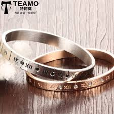 his and hers engraved bracelets teamo his and hers bracelets numerals engraved bangle in