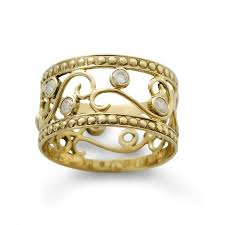 bridal gold ring floral diamonds gold ring handmade delicate ring 14k yellow gold