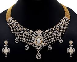yellow gold necklace set images Diamond jewelry set for brides jpg