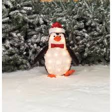Christmas Outdoor Decor by Christmas Outdoor Decor Lighted Fluffy Penguin Decoration Yard