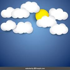 blue sky background with clouds and sun vector free