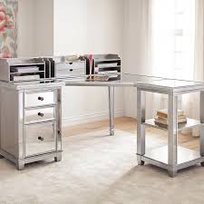 Metal Computer Desk With Hutch by Hayworth Mirrored Corner Desk With Open Shelf U0026 Hutch Silver