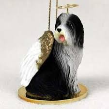 raining cats and dogs bearded collie ornament