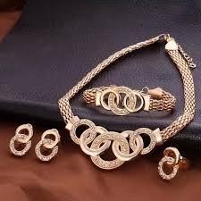 fashion bracelet sets images Fashion luxury crystal handcuffs necklace earring bracelet ring jpg