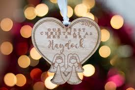 personalised first wooden christmas mr mrs bauble tree decoration