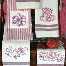 set of 6 tea towels with fun hand embroidery motifs