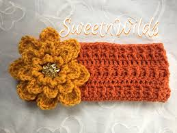 crocheted headband big flower earwarmers womens accessories mens