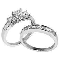 stainless steel wedding ring sets lanyjewelry three 6mm princess cz stainless