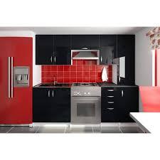 cuisine noir laqué cuisine complète 220 cm oxane noir laqué achat vente cuisine