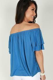 Cool Blue Cool For The Summer Off Shoulder Top In Blue U2022 Impressions Online