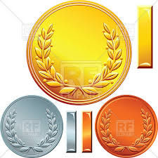 blank templates of gold silver and bronze coins or medals with