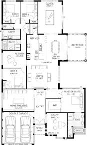 Single Floor Plan by The Cable Beach Four Bed Single Storey Home Design Plunkett Homes