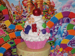 fake candy land cupcake with gummy bears gumdrops lollipops bon