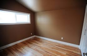 wide planked laminate flooring and rich paint colours warm the