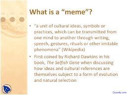 The Selfish Meme - internet meme e commerce lecture slides docsity
