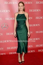 brie larson dark green backless cocktail party dresses
