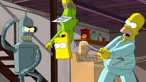 homer and bart meet bender in new clip from the simpsons futurama