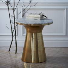 Brass Side Table Marble Topped Pedestal Side Table White Marble Antique Brass