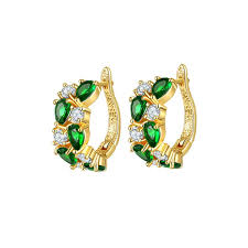 green earrings buy earrings online green earrings yellow gold plated earrings