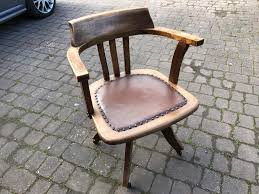 Swivel Chair Cushion by Vintage Wooden Swivel Captain U0027s Chair With Studded Seat Cushion