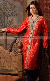 new pakistani ladies party wear red purple open shirt latest