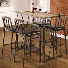 Pub Bar Table Industrial Distressed Finish Chain Link Bistro Bar Pub Table And