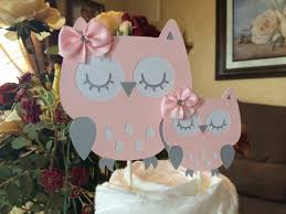 Owl Baby Shower Cake Topper Owl Cake Topper Pink And Grey Owl