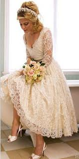plus size wedding dresses with sleeves tea length a line v neck 3 4 sleeve lace wedding dress arrival tea