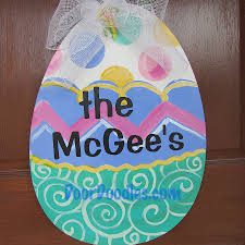 Easter Egg Door Decorations by Personalized Easter Egg Front Door Hanger Decoration Decor Hang