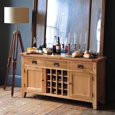 montague oak sideboard with wine rack 721 014 with free delivery