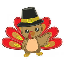 turkey wearing a hat thanksgiving applique machine