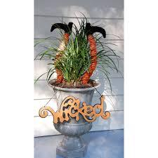 Halloween Wreath Witch Legs Pair Of Striped Witch Legs Orange Black 17